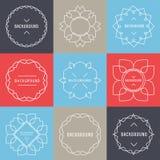 Sistema de elementos elegantes del diseño del logotipo del lineart Fotografía de archivo libre de regalías