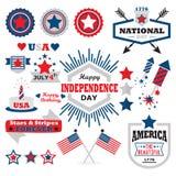 Sistema de elementos feliz americano del diseño del Día de la Independencia Imágenes de archivo libres de regalías