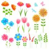 Sistema de elementos florales Imagenes de archivo