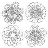 Sistema de elementos florales abstractos Doodle dibujado mano Imagen de archivo