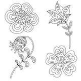 Sistema de elementos florales abstractos Doodle dibujado mano libre illustration