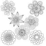 Sistema de elementos florales abstractos Doodle dibujado mano Foto de archivo libre de regalías