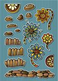 Sistema de elementos florales del cuento de hadas del vector Foto de archivo
