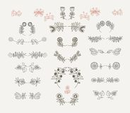 Sistema de elementos florales simétricos del diseño gráfico Foto de archivo