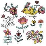 Sistema de elementos florales tropicales abstractos, pájaro amarillo del paraíso, elementos de la historieta Flores coloridas ilustración del vector