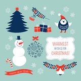 Sistema de elementos gráfico de la Navidad Imágenes de archivo libres de regalías