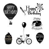 Sistema de elementos gráfico del feliz cumpleaños Imagen de archivo libre de regalías