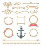 Sistema de elementos hermosos hechos de cuerda náutica Foto de archivo