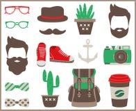 Sistema de elementos, de iconos y de accesorios planos del infographics del estilo del inconformista stock de ilustración