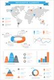 Sistema de elementos infographic detallado con los gráficos del mapa del mundo y el ch Imagen de archivo libre de regalías