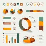 Sistema de elementos infographic planos. Diagramas, burbujas del discurso, gráficos, cartas del círculo de la empanada e iconos. stock de ilustración