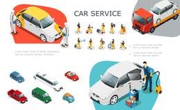 Sistema de elementos isométrico de servicio del coche stock de ilustración