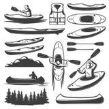 Sistema de elementos Kayaking del vintage stock de ilustración