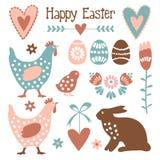Sistema de elementos lindo de pascua con los huevos, gallinas, liebres, flores, s stock de ilustración