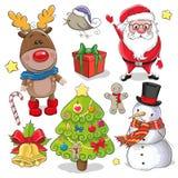 Sistema de elementos lindos del diseño de la Navidad stock de ilustración