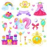 Sistema de elementos mágico de la princesa foto de archivo