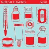 Sistema de elementos médicos Imágenes de archivo libres de regalías