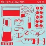 Sistema de elementos médicos Fotografía de archivo