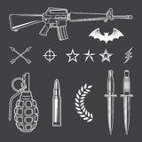 Sistema de elementos militar del emblema Foto de archivo libre de regalías