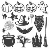 Sistema de elementos monocromático de Halloween Imagenes de archivo