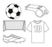Sistema de elementos plano blanco y negro del fútbol Foto de archivo