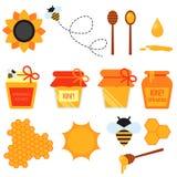 Sistema de elementos planos del diseño de la miel aislados Foto de archivo libre de regalías