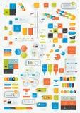 Sistema de elementos planos del diseño del infographics Los diversos esquemas de color, cajas, discurso burbujean, las cartas stock de ilustración