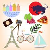 Sistema de elementos que viajan stock de ilustración