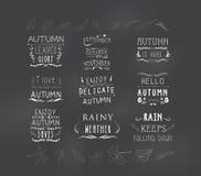 Sistema de elementos retros temáticos del vintage de la caída de los elementos del diseño del otoño Foto de archivo