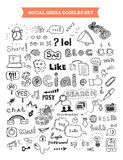 Sistema de elementos social del garabato de los medios Foto de archivo libre de regalías