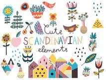 Sistema de elementos styles escandinavos lindos Fotos de archivo libres de regalías
