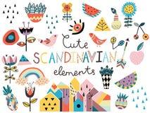 Sistema de elementos styles escandinavos lindos Imagen de archivo