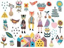 Sistema de elementos styles y de animales escandinavos lindos Imagen de archivo libre de regalías