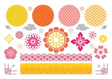 Sistema de elementos tradicional chino y japonés del diseño fotografía de archivo libre de regalías