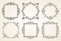 Sistema de elementos victorianos y de bastidores de las decoraciones del vintage Ornamentos y marcos caligráficos de los Flourish ilustración del vector