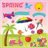 Sistema de elementos y de ejemplos de la primavera Imágenes de archivo libres de regalías