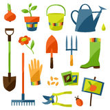 Sistema de elementos y de iconos del diseño del jardín Imagen de archivo libre de regalías