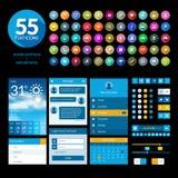 Sistema de elementos y de iconos planos del ui del diseño stock de ilustración