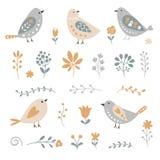 Sistema de elementos y de pájaros florales ilustración del vector