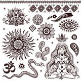 Sistema de elementos y de símbolos indios ornamentales ilustración del vector