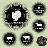Sistema de emblemas con los diversos animales domésticos y pájaros Foto de archivo