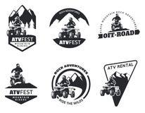 Sistema de emblemas, de insignias y de iconos de ATV ilustración del vector
