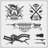 Sistema de emblemas del buceo con escafandra Natación subacuática y etiquetas, logotipos y elementos spearfishing del diseño Foto de archivo