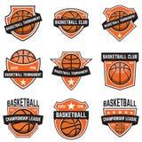 Sistema de emblemas del deporte del baloncesto Diseñe el elemento para el cartel, logotipo, etiqueta, emblema, muestra, camiseta Imágenes de archivo libres de regalías