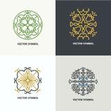 Sistema de emblemas del diseño del extracto del flourish Fotografía de archivo