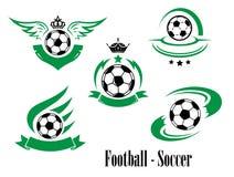 Sistema de emblemas del fútbol o del fútbol Imagenes de archivo