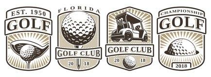 Sistema de emblemas del golf del vintage Imagenes de archivo