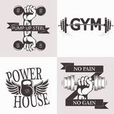 Sistema de emblemas del levantamiento de pesas Equipo de deporte ilustración del vector