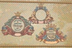 Sistema de emblemas del vintage Imagen de archivo