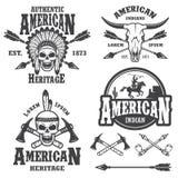 Sistema de emblemas indios americanos ilustración del vector